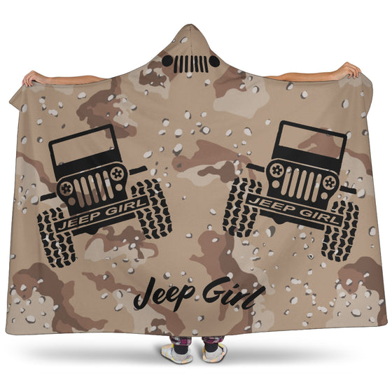 Hooded Blanket JeepGirl Black - Desert Camo