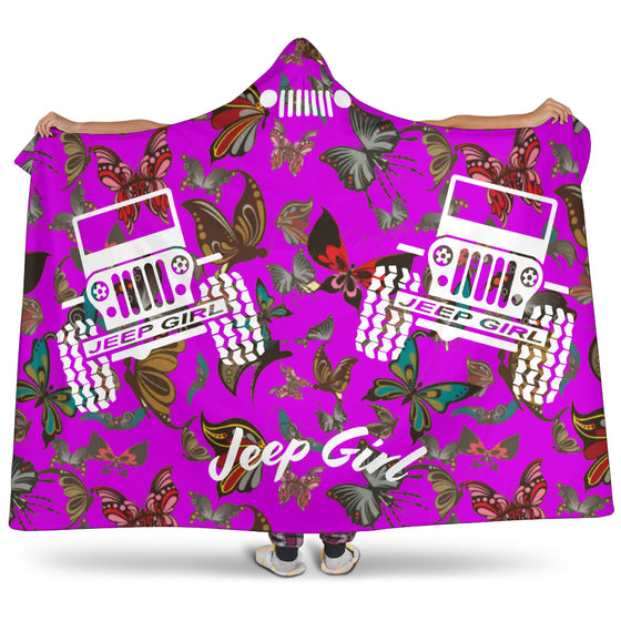 Jeep Girl Hooded Blanket - Purple Butterflies