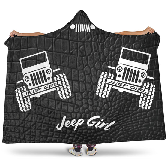 JeepGirl-HoodedBlanket - Alligator Black