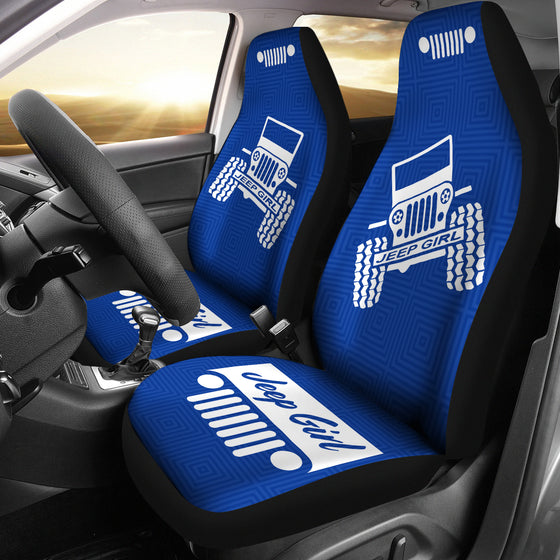 JeepGirl OffRoad - Car Seat Cover Blue/White Patterned
