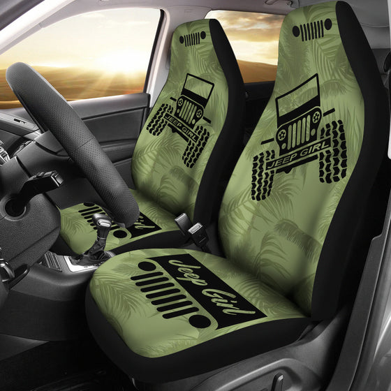 JeepGirl OffRoad - Seat Cover DrabOlive/Black Beach Palms
