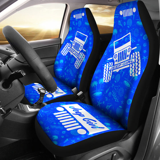JeepGirl OffRoad - Car Seat Cover Blue/White BeachShells