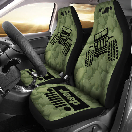 Jeep OffRoad - Car Seat Cover DrabOlive/Black Stones