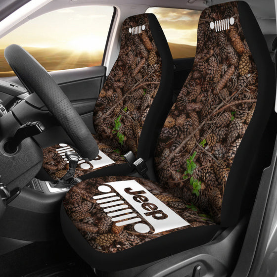 Jeep Grill Seat Cover - Pine Cones