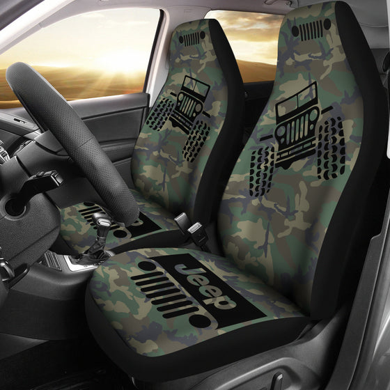 Jeep Offroad - Seat Cover Black/Camouflage Woodland