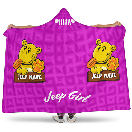 JeepGirl Hooded Blanket-Jeep Wave Purple Pattern