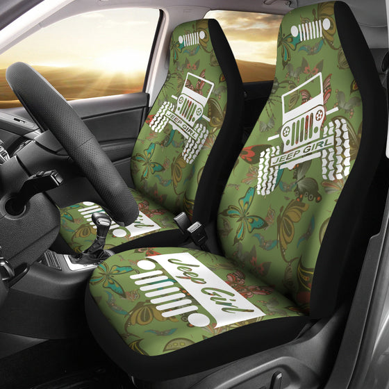 JeepGirl OffRoad - Seat Cover DrabOlive/White Butterflies