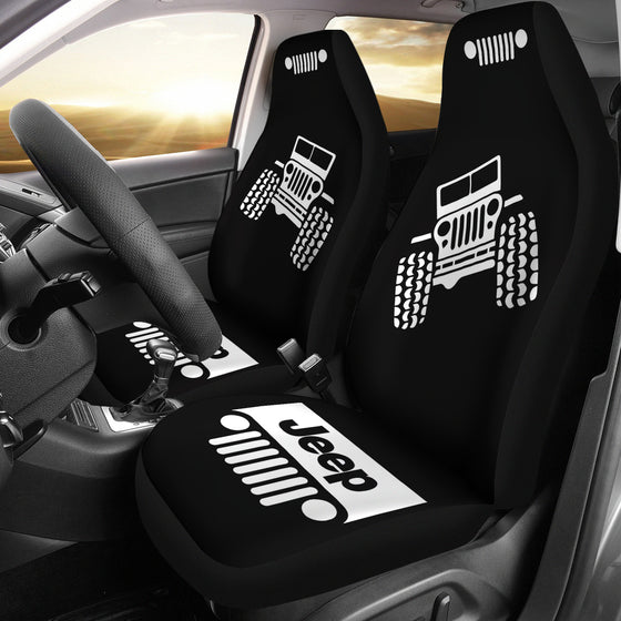Jeep Offroad/Wobble Car Seat Cover - White/Black