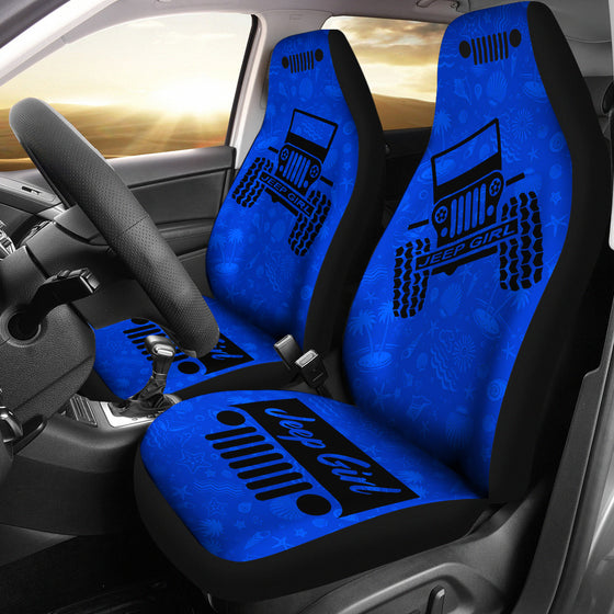 JeepGirl OffRoad - Car Seat Cover Blue/Black BeachShells