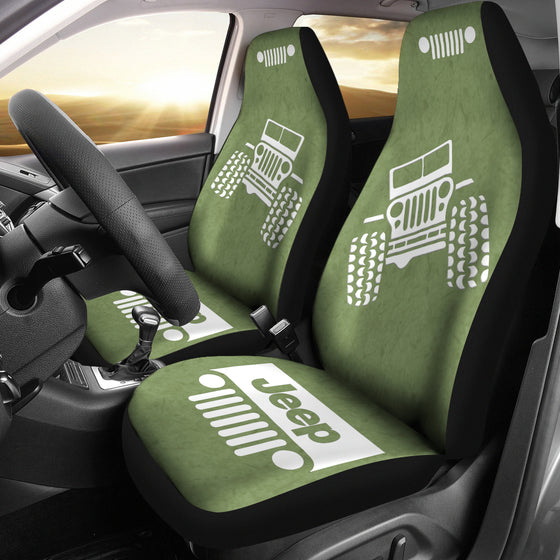 Jeep OffRoad - Car Seat Cover Blue/White Fiber1 Pattern