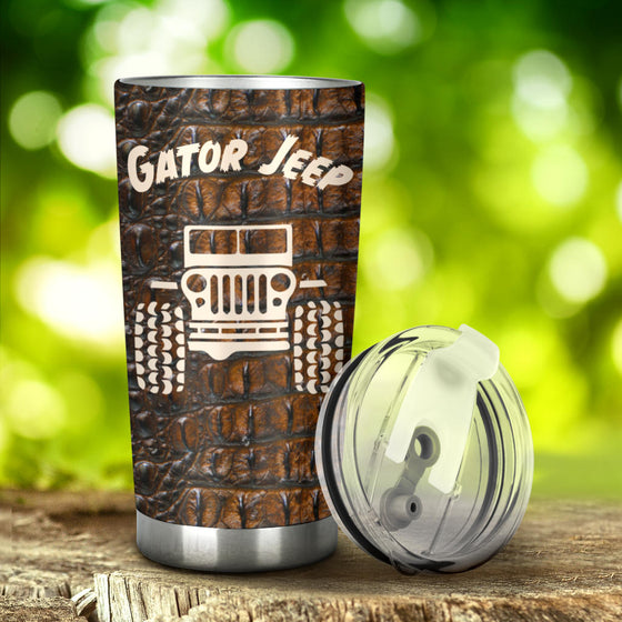 Jeep Coffee Cup Tumbler - Gator Jeep Brown