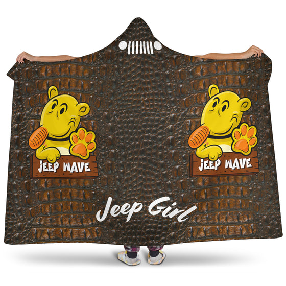 JeepGirl Hooded Blanket - Jeep Wave -Brown Alligator