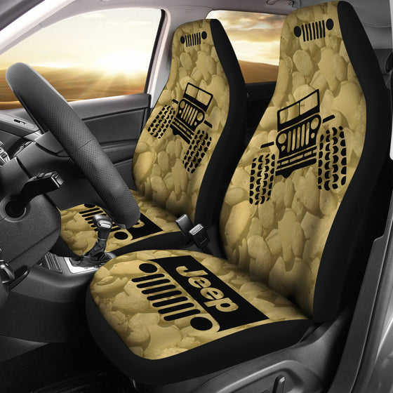 Jeep OffRoad - Car Seat Cover Tan/Black Stones