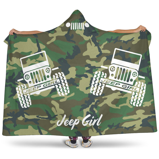 Hooded Blanket JeepGirl Woodland Camo