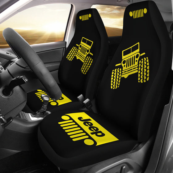 Jeep Offroad Car Seat Cover - Yellow/Black