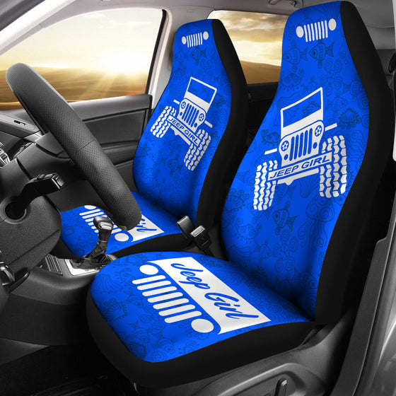JeepGirl OffRoad - Car Seat Cover Blue/White Beach