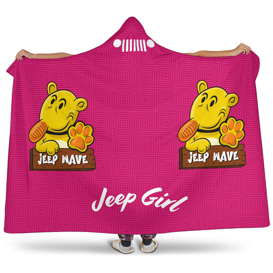 JeepGirl Hooded Blanket-Jeep Wave Pink Pattern
