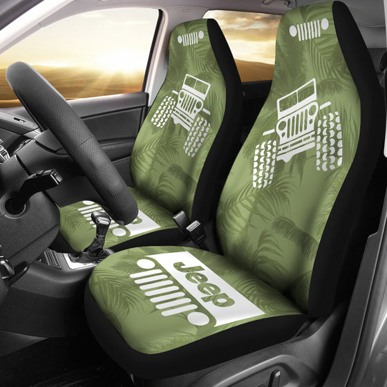 JeepGirl OffRoad - Seat Cover DrabOlive/White Beach Palms