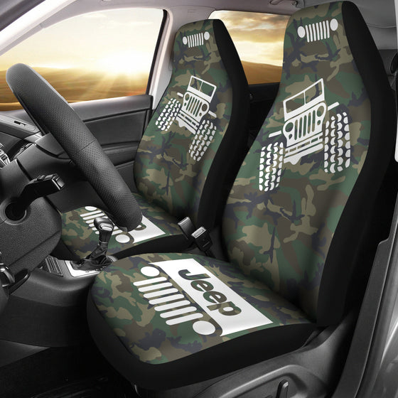 Jeep Offroad - Seat Cover White/Camouflage Woodland