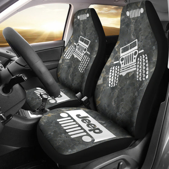 Jeep OffRoad - Car Seat Cover Tungsten/White Marble