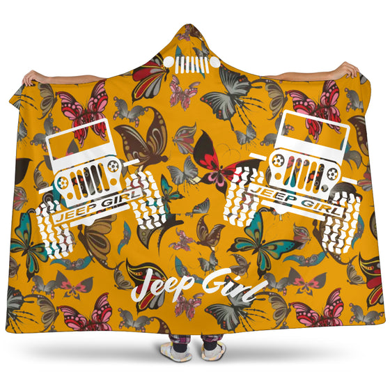 Jeep Girl Hooded Blanket - Orange Butterflies