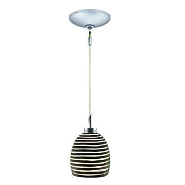 Jesco Lighting KIT-QAP104-BW-A Zeb Pendant-Satin Chrome finish-Cased cut glass with opal interior-Monopoint Round Canopy - JescoStore