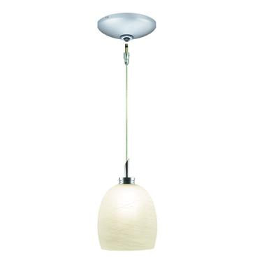 Jesco Lighting KIT-QAP113-WH-A Dallas Pendant-Satin Chrome finish-Frosted glass with white weaves - JescoStore