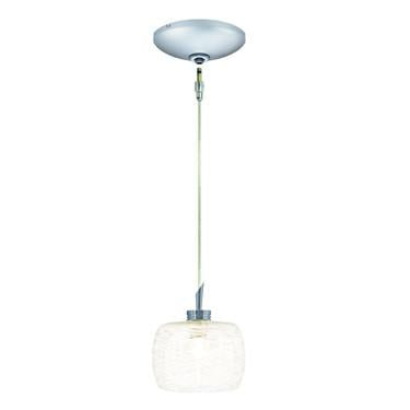 Jesco Lighting KIT-QAP114-WHFR-A Aidan Pendant-Satin Chrome finish-Frosted glass with white weaves-Monopoint Round Canopy - JescoStore