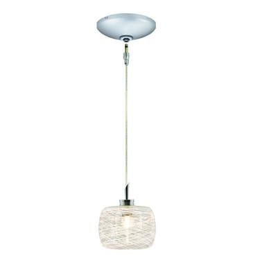 Jesco Lighting KIT-QAP115-WH-A Ally Pendant-Satin Chrome finish-Clear glass with white weaves-Monopoint Round Canopy - JescoStore