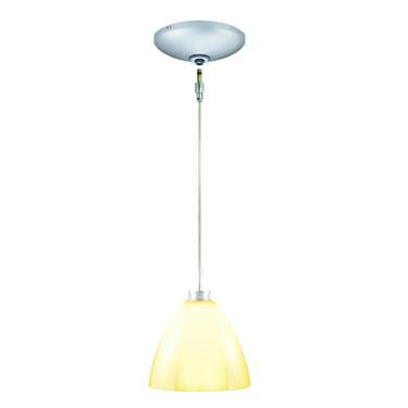 Jesco Lighting KIT-QAP119-VN-A Dora Pendant-Satin Chrome finish-Glossy cased glass, opal matte interior-Monopoint Round Canopy - JescoStore
