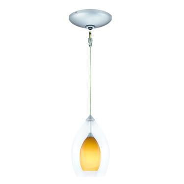 Jesco Lighting KIT-QAP218-AM-A Zara Pendant-Satin Chrome finish-Clear glass over cased inner colored glass Monopoint Round Canopy - JescoStore