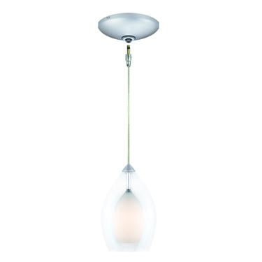 Jesco Lighting KIT-QAP218-WH-A Zara Pendant-Satin Chrome finish-Clear glass over cased inner colored glass Monopoint Round Canopy - JescoStore
