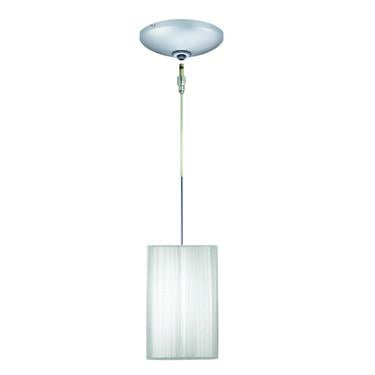 Jesco Lighting KIT-QAP230-SV-A Tao Pendant-Satin Chrome finish-Cubical silk shade-Monopoint Round Canopy - JescoStore