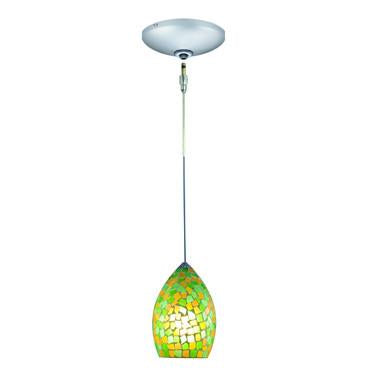 Jesco Lighting KIT-QAP232-GNYW-A Moz Pendant-Satin Chrome finish-Mosaic glass shade-Monopoint Round Canopy - JescoStore