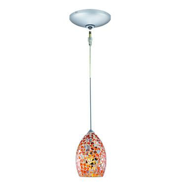 Jesco Lighting KIT-QAP232-OR-A Moz Pendant-Satin Chrome finish-Mosaic glass shade-Monopoint Round Canopy - JescoStore