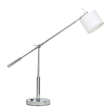 Jesco Lighting TLL901-CHWH BEATRICE LED Table Lamp-3-Prong Outlet on lamp base with Cord & Plug - JescoStore