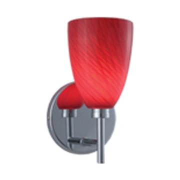 Jesco Lighting WS220-RD/SN Goblet Series 220 1-Light Wall Sconce, Red/Satin - JescoStore
