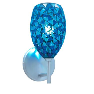 Jesco Lighting WS232-BU/CH The MOZ is a series of teardrop shaped glass finished by various combinations of mosaic chips, creating a beautiful myriad of colors - Peazz.com