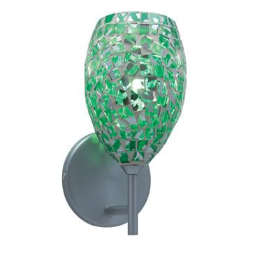 Jesco Lighting WS232-EM/SN The MOZ is a series of teardrop shaped glass finished by various combinations of mosaic chips, creating a beautiful myriad of colors - Peazz.com