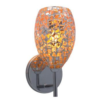 Jesco Lighting WS232-OR/SN The MOZ is a series of teardrop shaped glass finished by various combinations of mosaic chips, creating a beautiful myriad of colors - Peazz.com