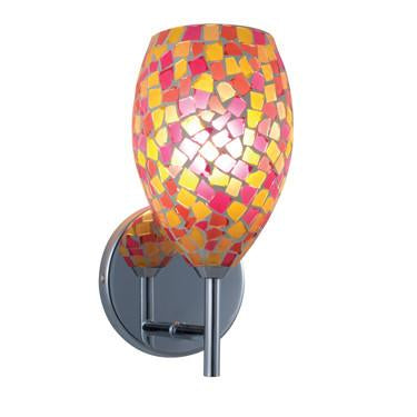 Jesco Lighting WS232-PKYW/SN The MOZ is a series of teardrop shaped glass finished by various combinations of mosaic chips, creating a beautiful myriad of colors - Peazz.com