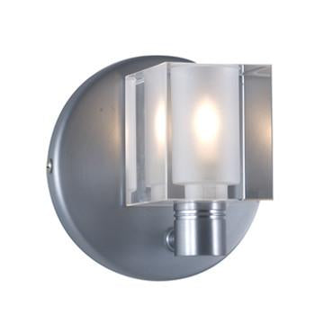 Jesco Lighting WS292-CR CUBE is a Wall Sconce offered with cobalt blue or clear crystal set against a satin nickel canopy base - Peazz.com
