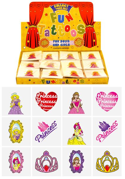 Box of 576 Mini Princess Tattoos