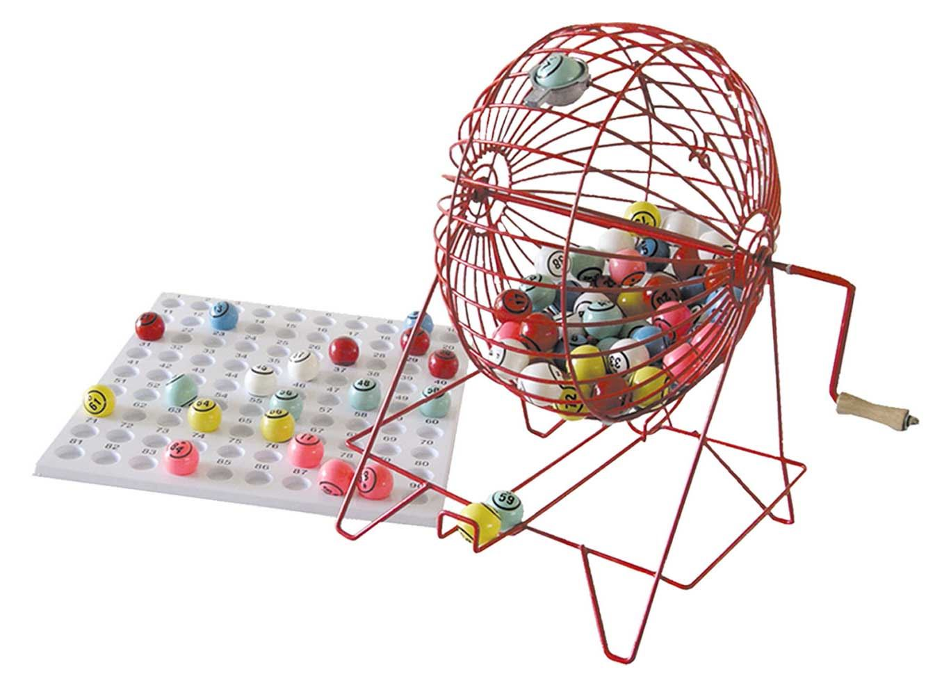 Large Bingo Cage with 38mm Balls & Checkboard