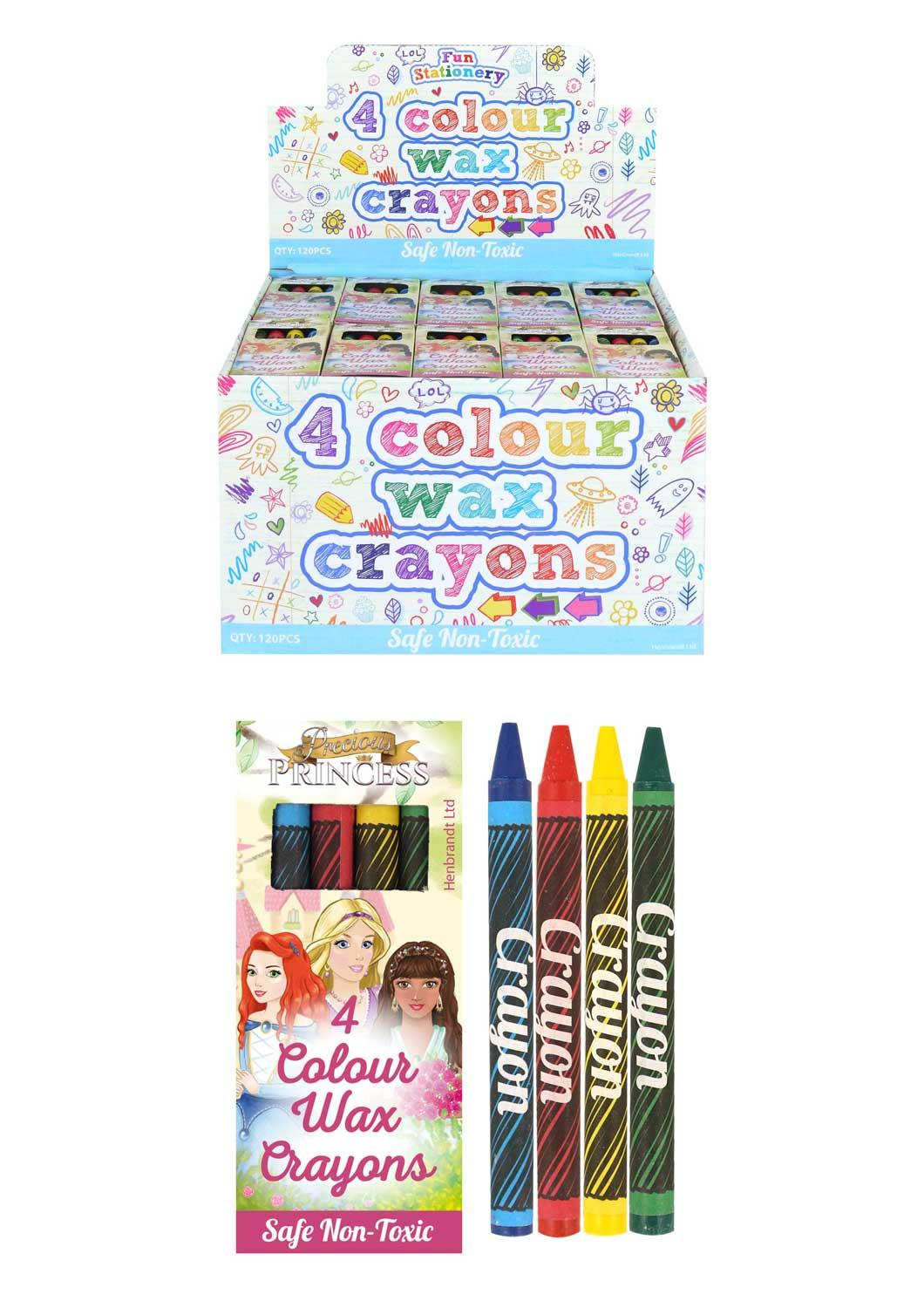 120 Packs of 4 Colour Wax Crayons (Princess)