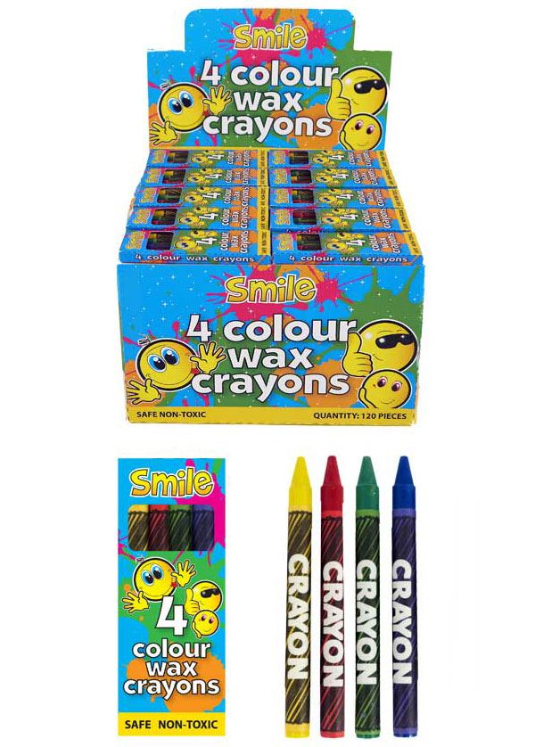 120 Packs of 4 Colour Wax Crayons