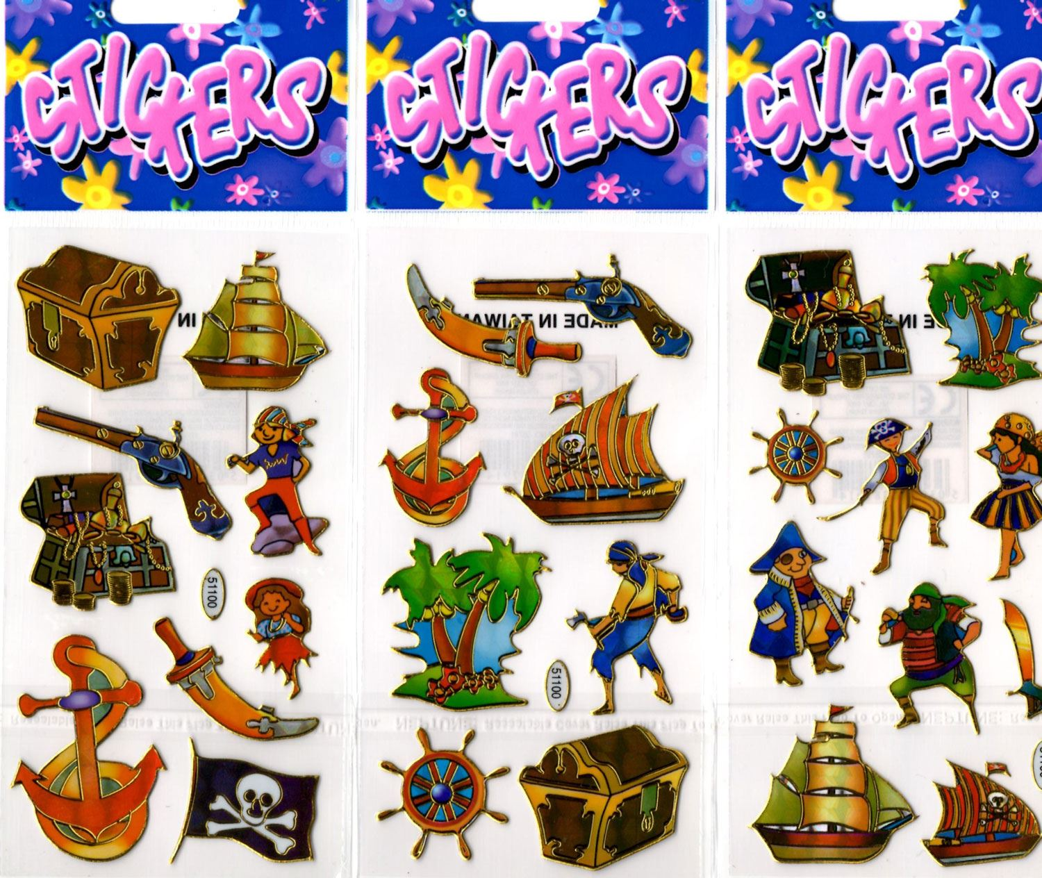 12 Packs of Pirate Stickers