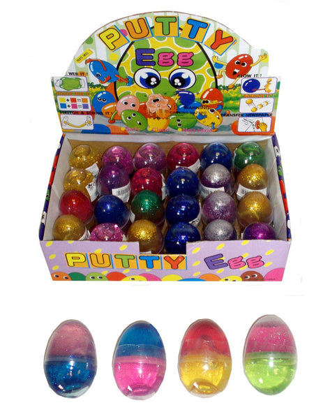 24 Glitter Putty Eggs