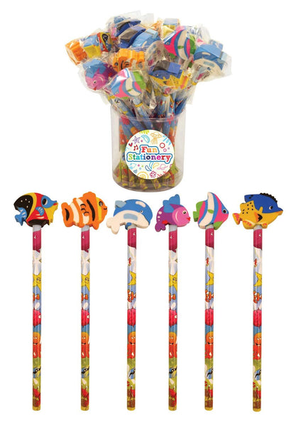 24 Sealife Pencils With Eraser Tops