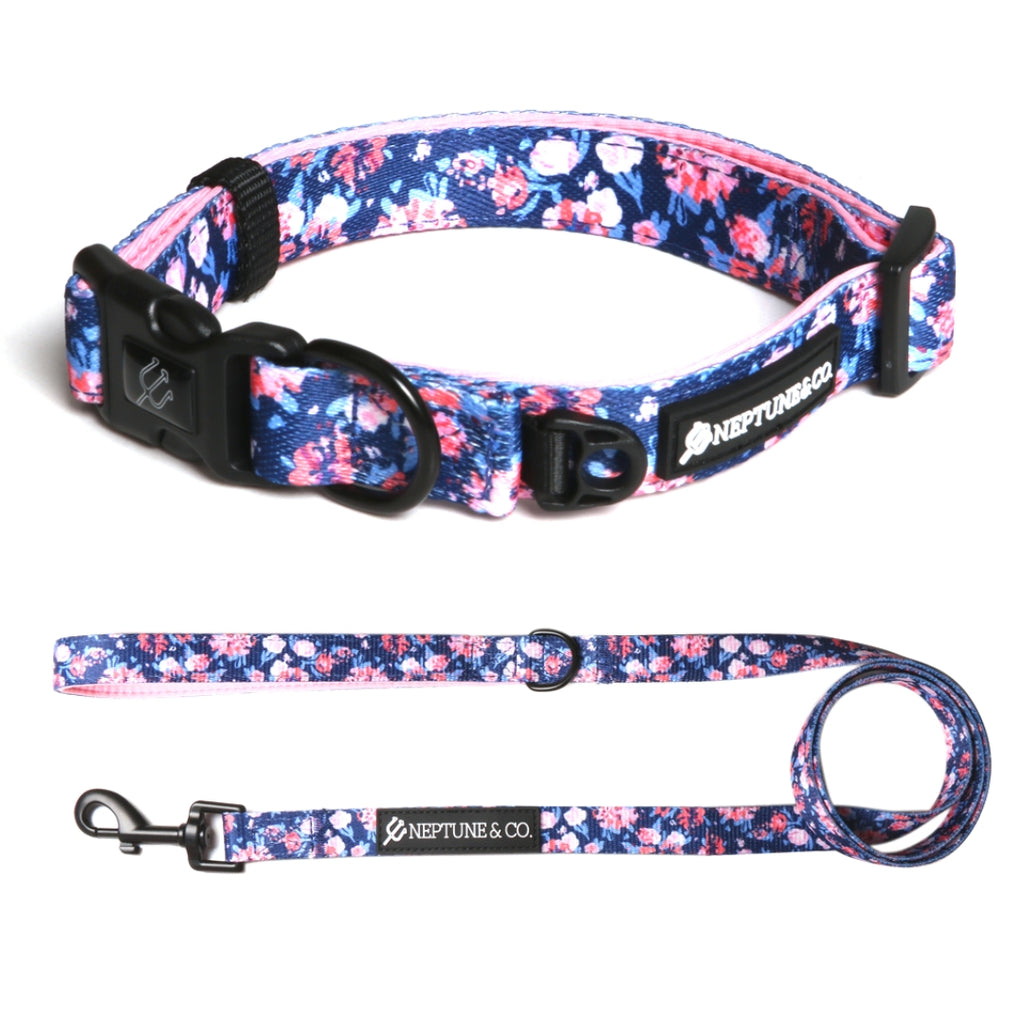 Coral Floral Collar and Leash Set - Neptune & Co.